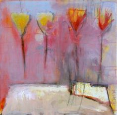 "Saatchi Art Artist Birgit  Nagengast; Painting, ""4 Flowers and Candles"" #art"