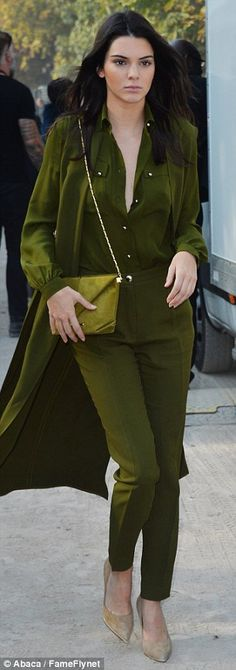Kendall Jenner is top-to-toe in green as she rise for Paris Fashion Week | Daily Mail Online