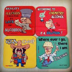 Alcohol coasters set of 4