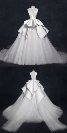 V Neck Sleeveless Stain Wedding Dresses,A Line Tulle Bridal Dresses by MeetBeauty, $184.64 USD