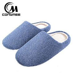702957437811  EBay  Conymee Soft Plush Home Slippers Men Indoor Cotton Shoes Big Size  Winter Casual