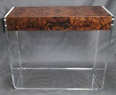 Burlwood and Lucite Console