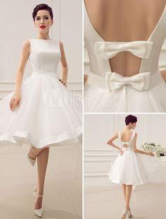 Vintage 1950's Short Wedding Dress Knee Length Bateau Backless Little White Dresses Summer Style Beach Wedding Gowns Dress-in Wedding Dresses from Weddings & Events on Aliexpress.com | Alibaba Group