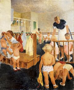 """A Nursery-School for War Workers' Children,"" Elsie Hewland, 1942. During World War II, the British government's Ministry of Information funded a War Artists Advisory Committee."