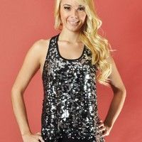 Black And Silver Sequin Racerback Top