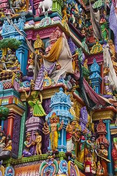 A Hindu temple.This temple is so colorful with many Hindu Gods , It inspired a lot in Indian costumes past and nowadays