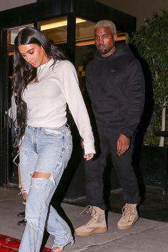 Kanye West wearing Gosha Rubchinskiy Paccbet Dawn Embroidered Hoodie, Yeezy Season 5 Military Boots Celebrity Outfits, Celebrity Style, Yeezy Boots, Kanye West Style, Yeezy Season, Kardashian Style, Women Wear, Gosha Rubchinskiy, Hoodies