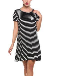 431510f5119e Zeagoo Womens Casual Swing TShirt Dress Short Sleeve Striped Tunic Mini  Dresses1striped BlackMedium -- Check
