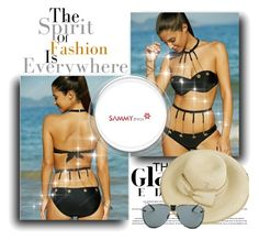 """Metal Embellished Bikini Set"" by selmaaaa-1 ❤ liked on Polyvore featuring sammydress"