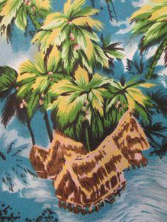 Vtg 70s Mens Butterfly Collar Polyester S/S Hawaiian Aloha Tiki Towncraft L #Hawaiian #Casual
