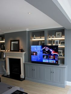 Media Furniture - The BookCase Co Alcove Tv Unit, Built In Tv Wall Unit, Wall Units With Fireplace, Built In Tv Cabinet, Alcove Storage, Built In Bookcase, Shelves Around Fireplace, Bookshelves With Tv, Tv Built In