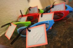"""""""For the Road"""" party favors at a race car birthday party, cheap children's sunglasses!"""