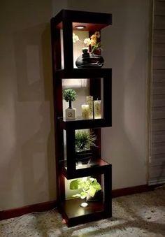 esquinero luz minimalista adorno repisa mueble decorativo