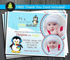 Winter ONEderland Birthday Invitation - FREE Thank You Card included on Etsy, $12.00