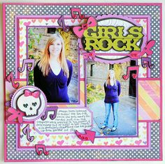 Girls Rock layout made with the #Cricut