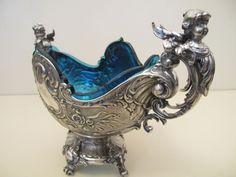 WMF Jugendstill Jardiniere mit blauem Glaseinsatz, Art Nuovaue 1900