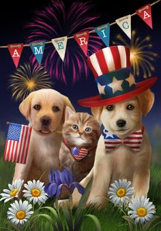 Yankee, Doodle and Dandy by Thomas Wood ~ puppies & kitten ~ patriotic