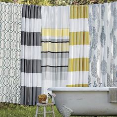 west elm shower curtains  I love love love grey!  I have shower curtains as curtains on my sliding doors in my kitchen and also as curtains in my bedroom!