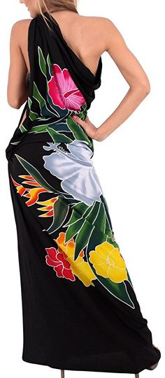 369b0a3517 La Leela Floral Hawaiian Beach Cover ups Sarong Bali Swimsuit Swim Bathing  Wrap Pareo Black