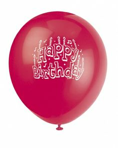 Ruby Red Printed Happy Birthday Balloon - Online Balloon Shopping in India