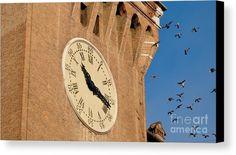 Old Clock And Birds Canvas Print #marinausmanskayafineartphotograph #artprint #homedecor #artforhome  #homedesign #italy #ferrara #clock #birds #travel #travelphotography
