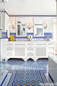 blue yellow wall tiles design designs with amazing morrocan tile messagenote moroccan bathroom design wall decor moroccan decor ideas blue stairs plaid floor typical tile Bathroom Tile Designs, Bathroom Colors, Colorful Bathroom, Bathroom Ideas, Tiled Bathrooms, Washroom Tiles, Bathroom Inspiration, Modern Bathroom, Spanish Bathroom