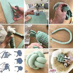 button ball button ball button button cushion button cushion knot pillow cussion diy make sew nursery nursery girl boy throw pillow pillow mint pattern self make Diy Home Crafts, Sewing Crafts, Diy Home Decor, Sewing Projects, Diy Projects, Sewing Tips, Yarn Crafts, Knot Cushion, Knot Pillow