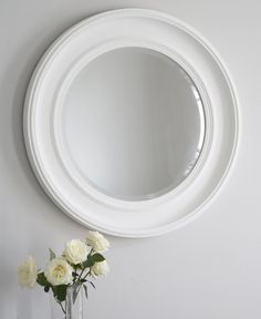 The New England mirror is a simple, yet elegant, round #mirror in an attractive matte white finish and beautiful bevelled detail. Bring understated elegance to the home this Spring. Shop it in store or online at Brissi.com