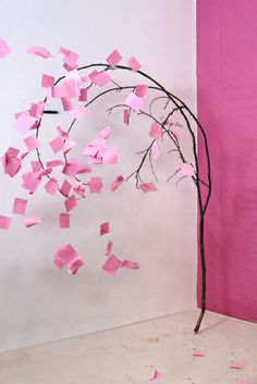 Tree, from Dolldrums by Florian Hildebrant Paper Crafts, Diy Crafts, Arts And Crafts, Performance Artistique, Post It Art, Grand Art, Rosa Pink, Color Rosa, Fake Flowers