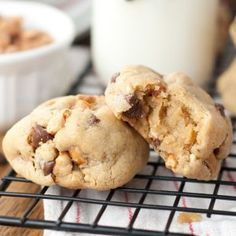Thick, Chewy Chocolate Chip Peanut Butter Cookies recipe with crushed honey roasted peanuts that you will fall in love with. These are slightly crispy on the edges while gooey and soft on the inside.