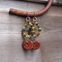 Beaded earrings with ceramic charms by Karen Totten by Lesley Watt - THEAjewellery