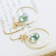 Teal Quartz Chandelier Earrings 14k Gold Fill Teal