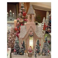 Just gorgeous!!! Pink Christmas, All Things Christmas, Christmas Home, Vintage Christmas, Christmas Holidays, House Ornaments, Xmas Ornaments, Christmas Decorations, Putz Houses