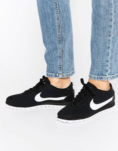 Image 1 ofNike Cortez Ultra Moire Trainers In Perforated Black And White