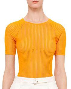 Half-Sleeve+Rib-Knit+Top,+Tangerine+by+Akris+punto+at+Bergdorf+Goodman.