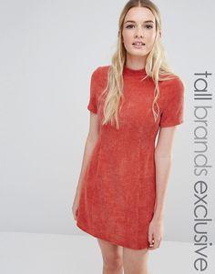 Image 1 ofFashion Union Tall Textured High Neck Pencil Dress