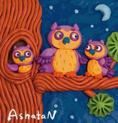 Plasticine Pictures on Behance School Art Projects, Clay Projects, Clay Crafts, Projects For Kids, Diy And Crafts, Crafts For Kids, Polymer Clay Kunst, Clay Birds, Clay Paint