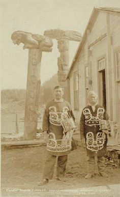 Tlingit Chief Charles Jones Shakes and unidentified man in costume, Wrangell, Alaska, ca. 1907