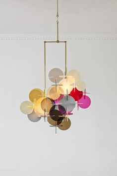 Settanta, Chandelier in plexi glass and brass