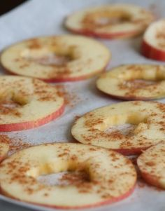 Baked Apple Chips! Healthy snack to take to work or pack in your children's lunch bag! | delighted momma Hubby might LOVE these! I keep trying to randomly invent baked apple things, but, they aren't very good. Maybe this is the ticket!