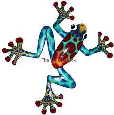 Frog Garden Art colourful Metal Home & Garden Wall Decor or Deck Ornament FC-4