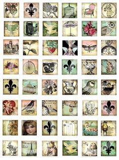 WHiMSiCaL 1 x 1 inchies squares digital Collage sheet vintage style bicycle owl…