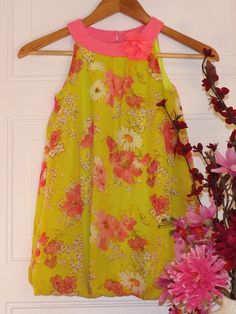Girls, Amy Byer Yellow w/pink floral designs balloon dress Sz. 6 #AmyByer #spring #birthday #shopping