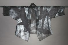 Silk Organza Hand-Painted Shawl Collar jacket.  Black with Silver. Available in Black / Gold. Diane Katz Designs