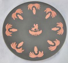 Wedgwood Egyptian Black & Orange Jasperware Terracotta Dish Plate (0989)