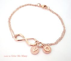 Personalized Rose Gold Infinity Bracelet Infinity by ColorMeMissy