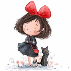 Kiki &Jiji 💌 little fan art doodle - characters from one of my favourite films 'Kiki's Delivery Service' ❤️ Art And Illustration, Character Illustration, Illustration Children, Girl Cartoon, Cute Cartoon, Art Doodle, Doodle Characters, Whimsical Art, Totoro