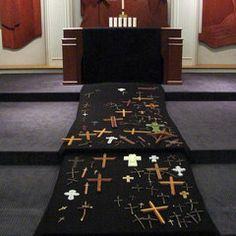Art for Worship - Gallery Worship idea: Each member of the congregation is invited to make or bring a cross to be put on a black runner in the sanctuary.