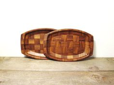 Retro Boho Trays! So cute! Wood Tray / Mid Century Woven Wood / Rustic by ZenDenVintage, $28.00