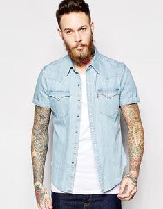 Levi's+Denim+Shirt+Barstow+Short+Sleeve+Slim+Fit+Western+Light+Indigo+Fog
